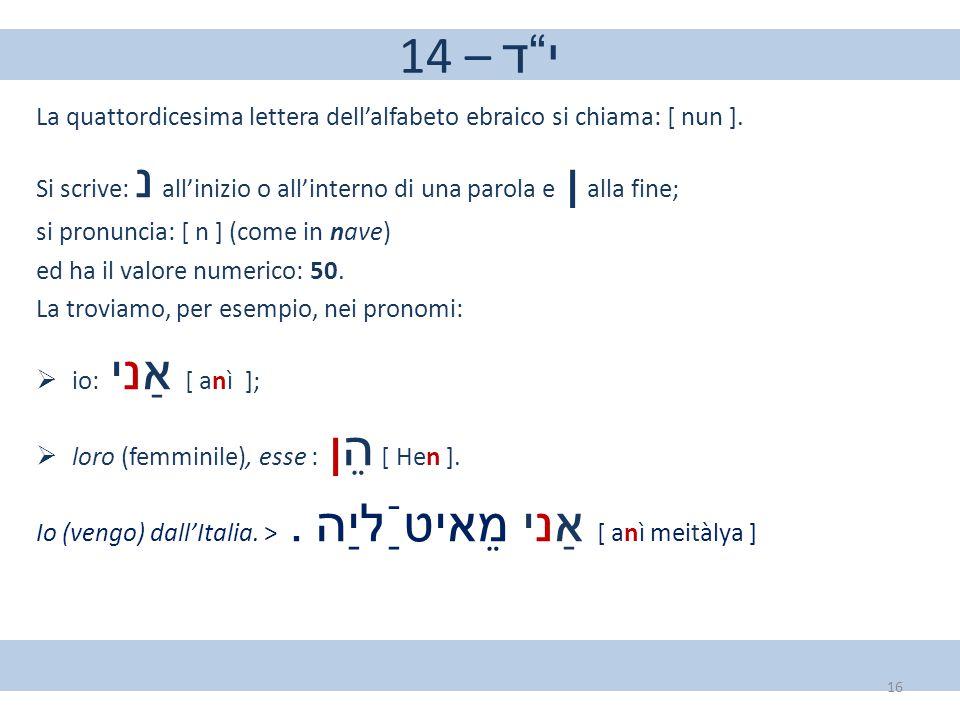 14 – י ד La quattordicesima lettera dell'alfabeto ebraico si chiama: [ nun ]. Si scrive: נ all'inizio o all'interno di una parola e ן alla fine;